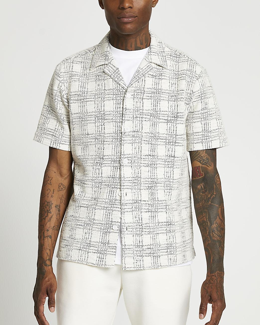 Ecru textured check short sleeve shirt