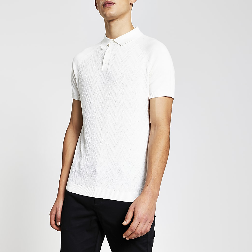 Ecru textured knitted slim fit polo shirt