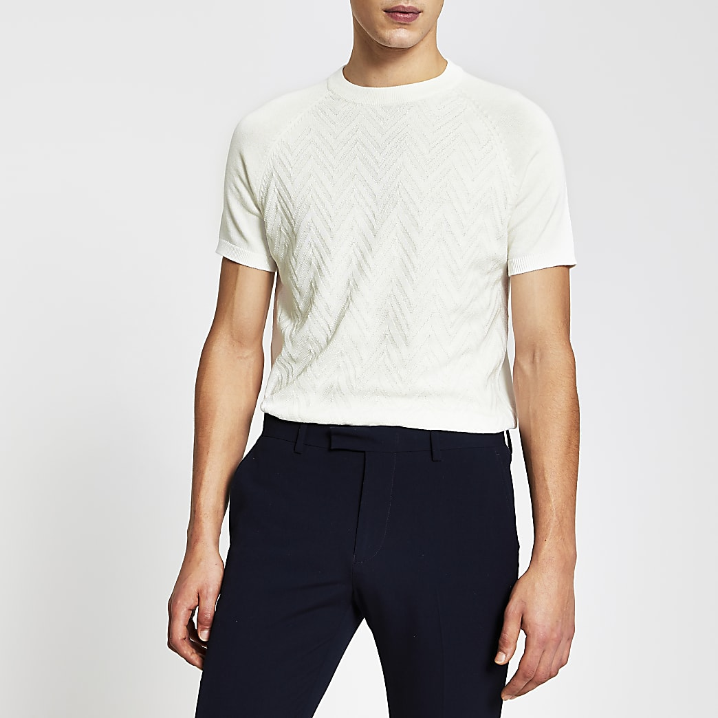 Ecru textured knitted slim fit t-shirt