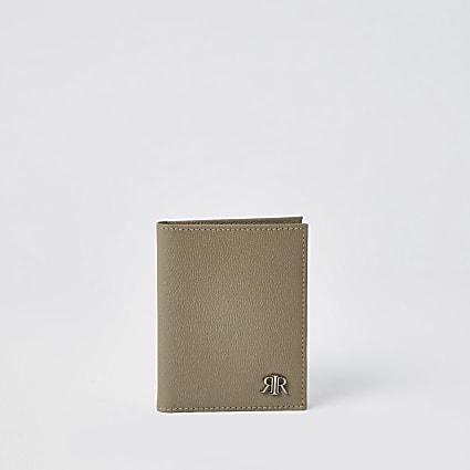 Ecru textured leather RIR fold out wallet