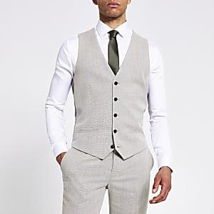 Ecru textured slim fit suit waistcoat