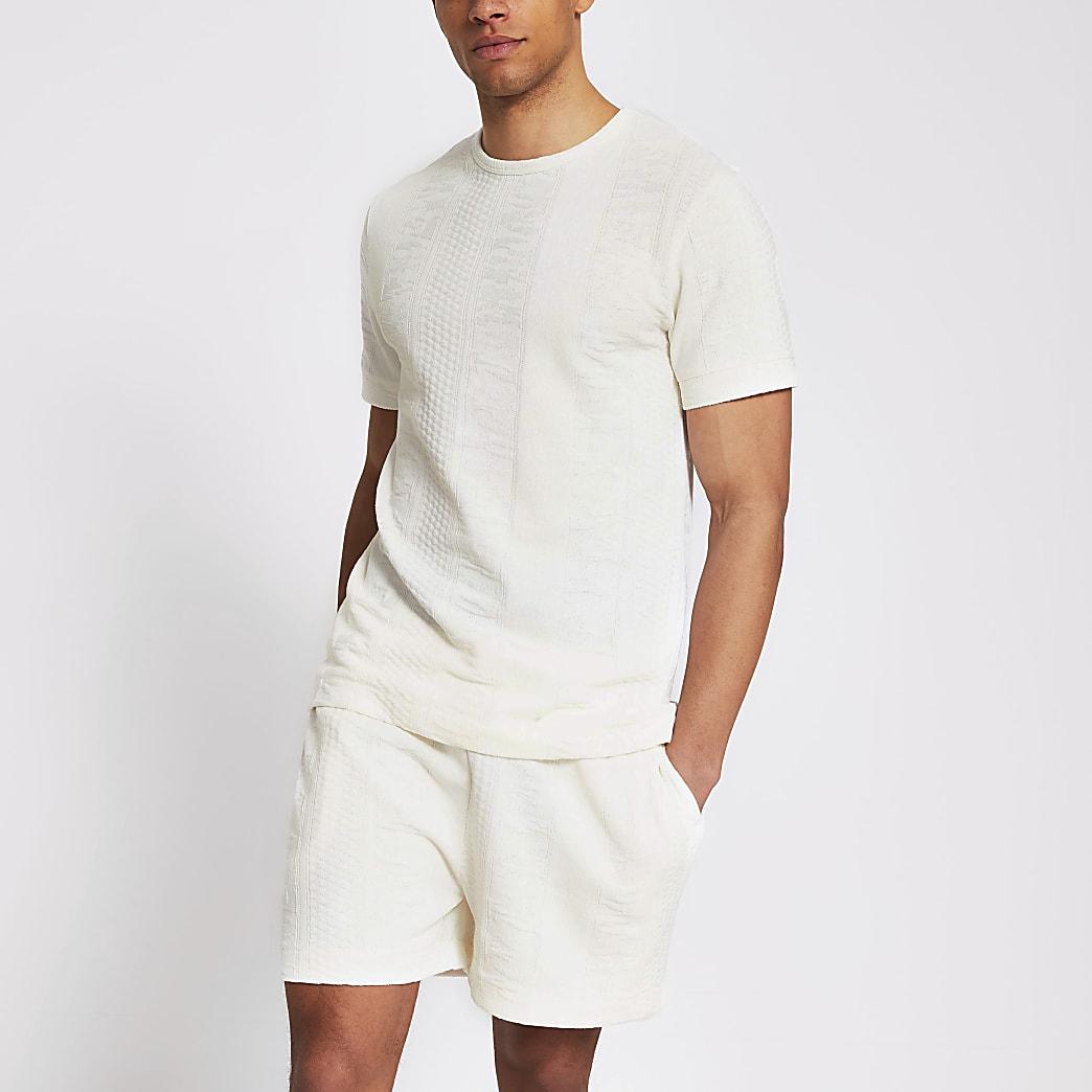 Ecru textured slim fit T-shirt