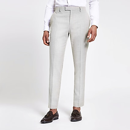 Ecru textured slim suit trousers