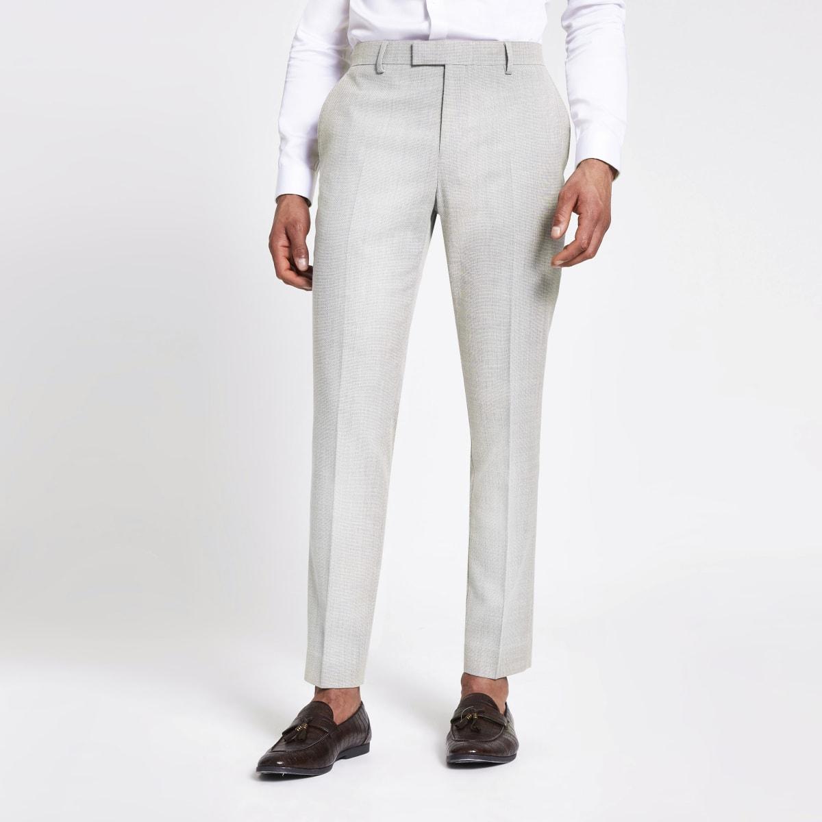 Ecru textured slim suit trousers