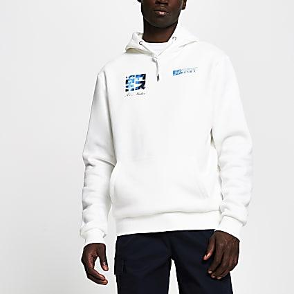 Ecru Tokyo graphic print slim fit hoodie