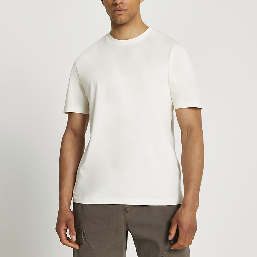 Ecru tonal circle print t-shirt
