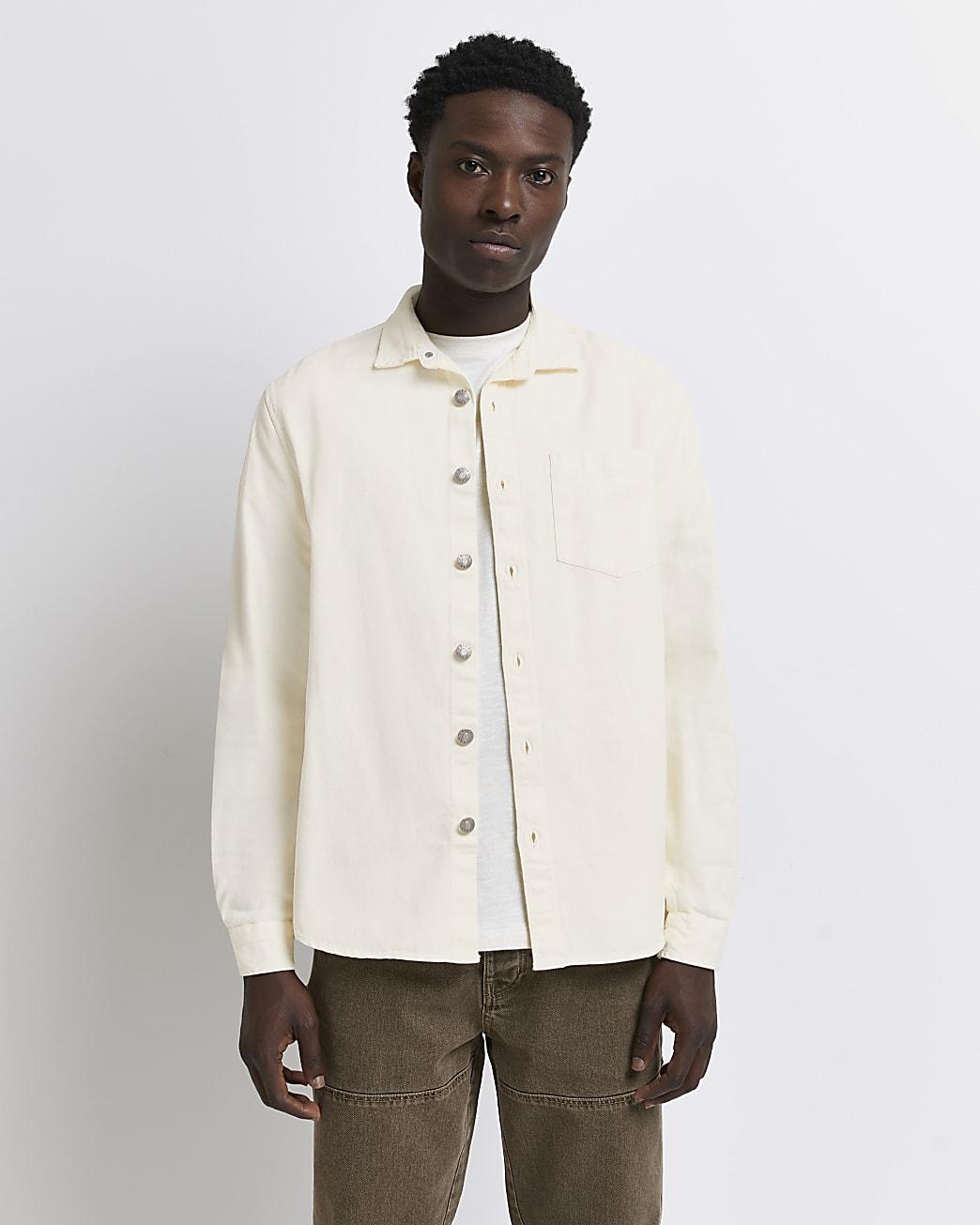 Ecru twill regular fit long sleeve shirt