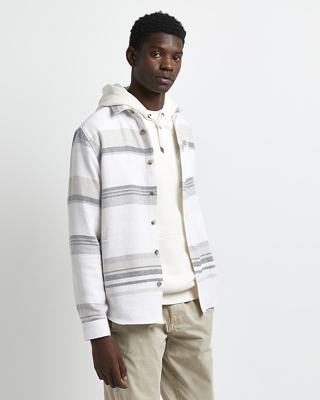 Ecru twill regular fit stripe shirt