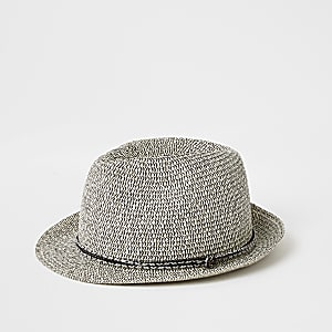 Ecru twisted straw trilby hat