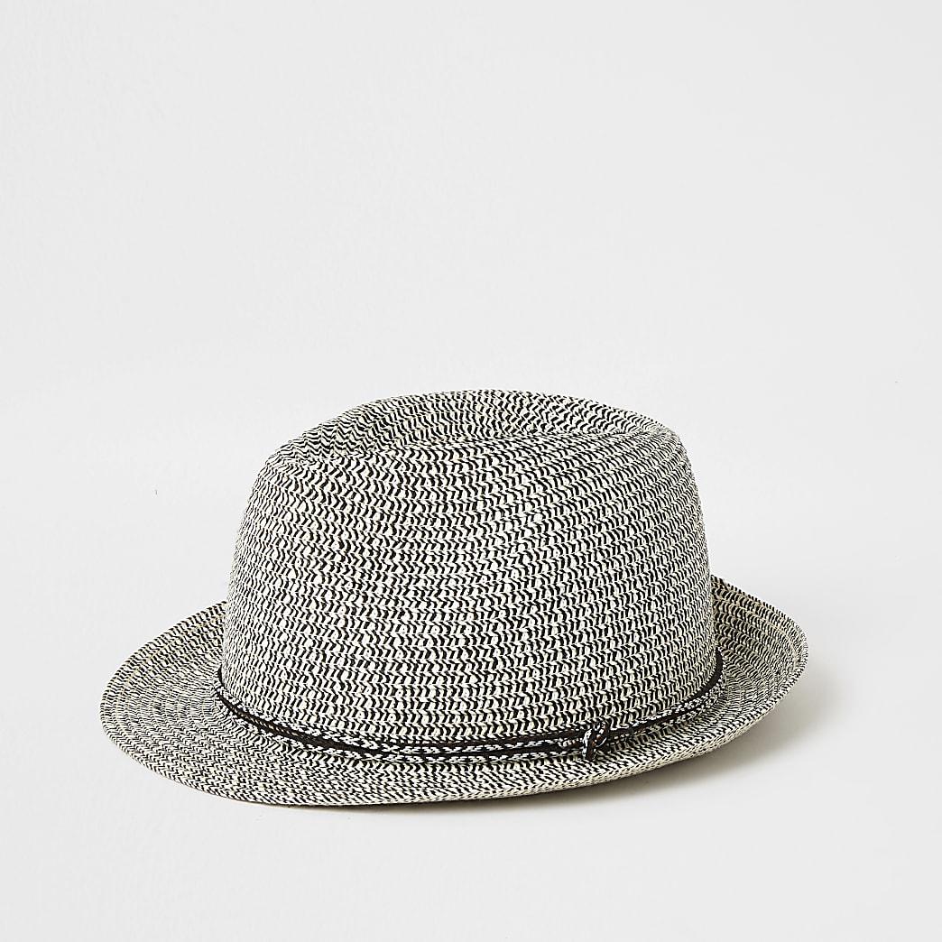 Ecru twisted straw trilby hat