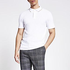 Gewebtes Slim Fit Strickpoloshirt in Ecru