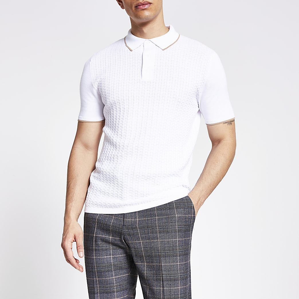 Ecru weaved knitted slim fit polo shirt