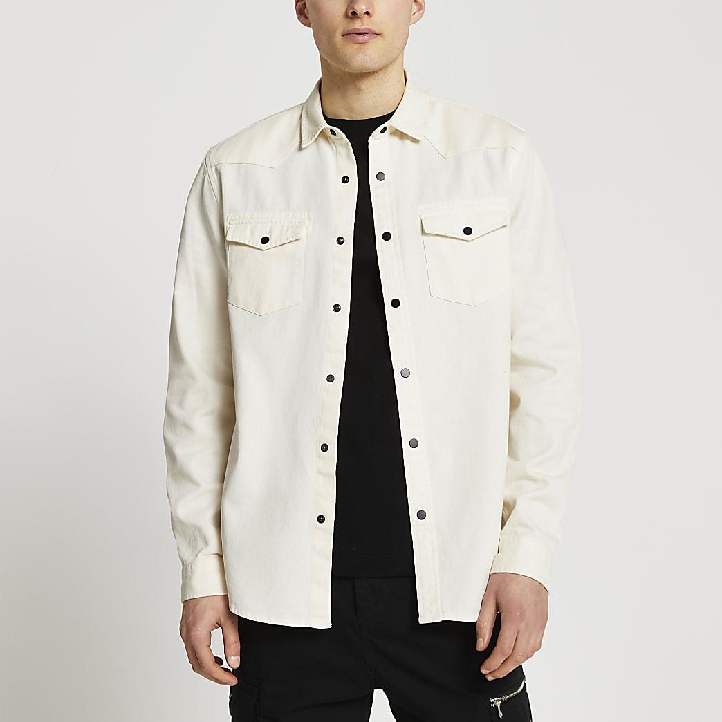 Ecru western long sleeve shirt