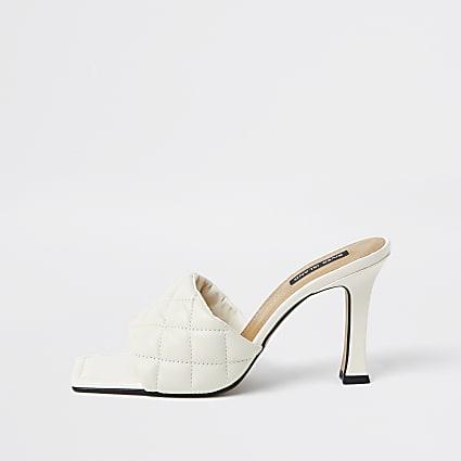Ecru woven square toe mule sandal
