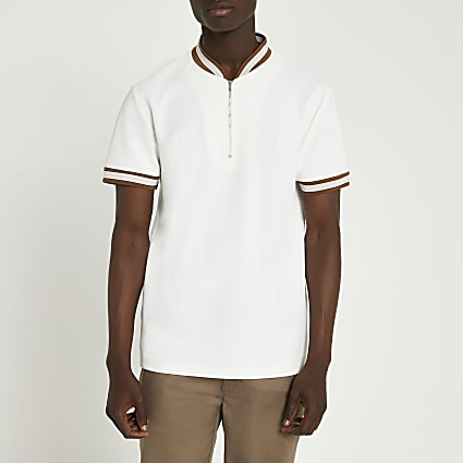 Ecru zip slim fit short sleeve polo shirt
