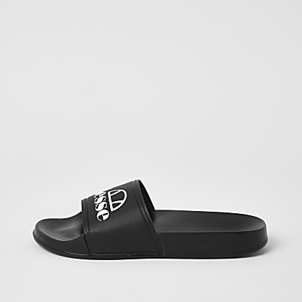 Ellesse black branded sliders