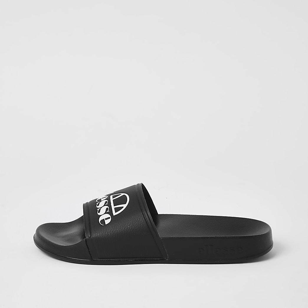 Ellesse black branded sliders
