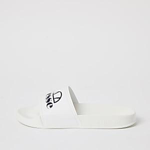 Ellesse– Claquettes avec logo blanches