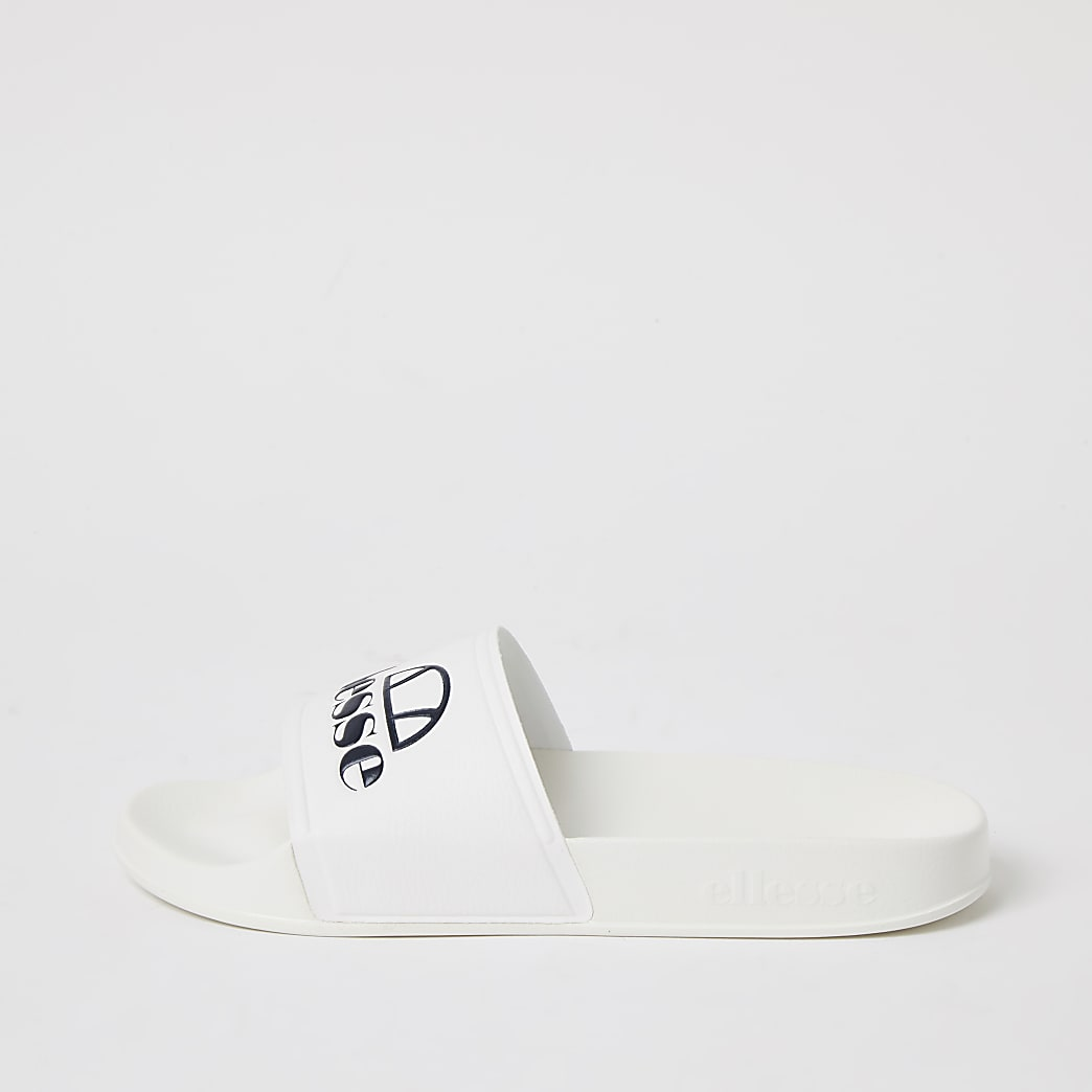 Ellesse white branded sliders