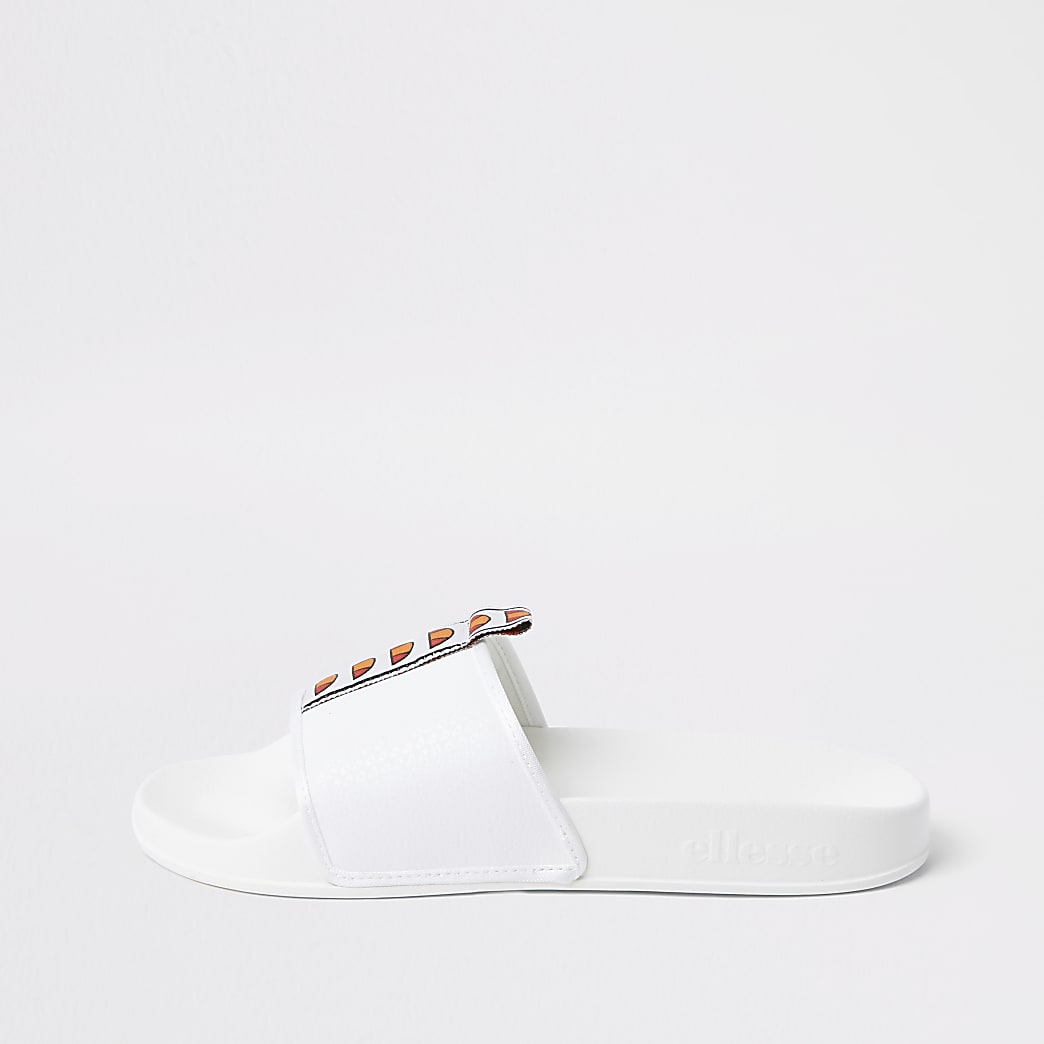 Ellesse white tape sliders