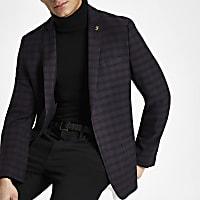 Farah burgundy check skinny fit blazer