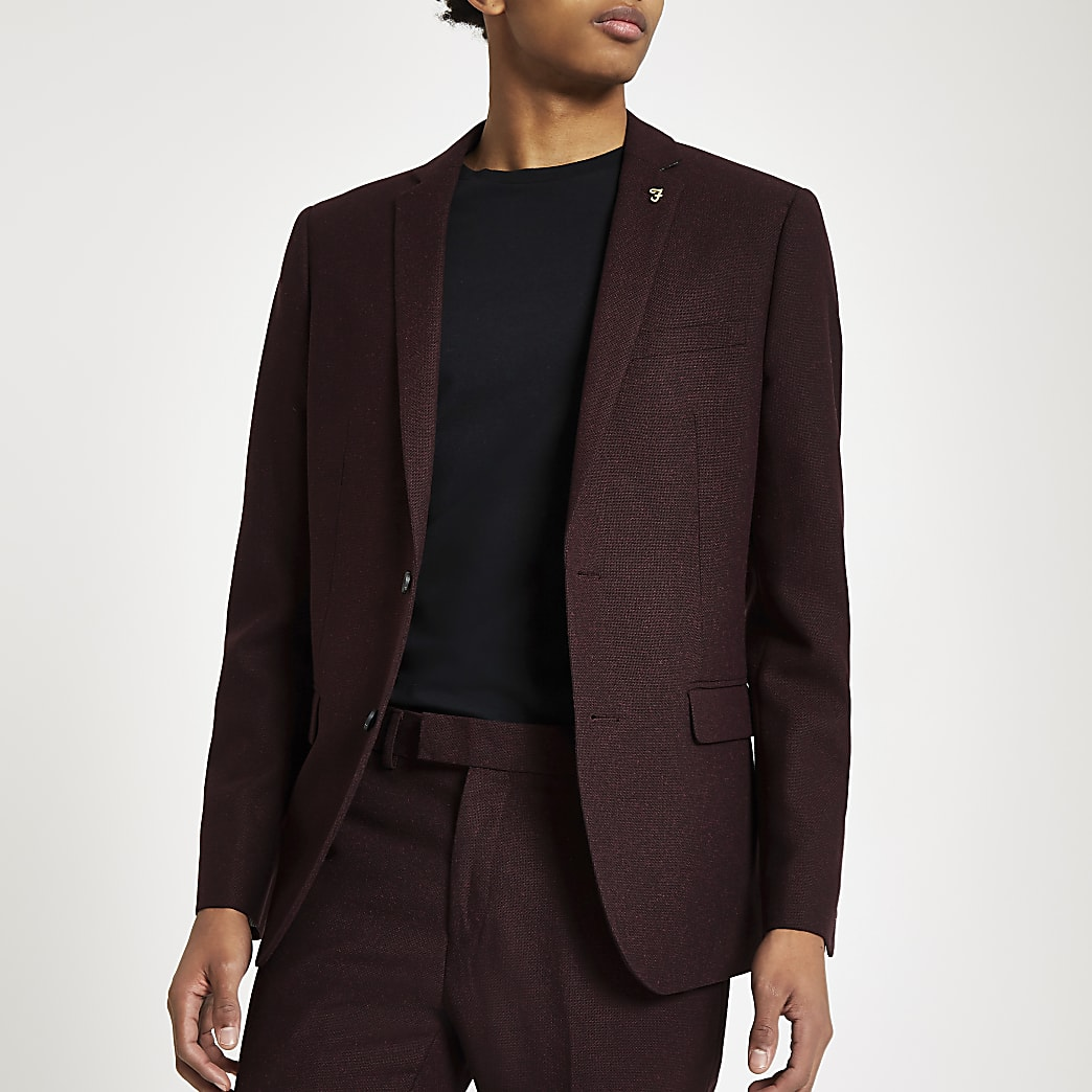 Farah – Veste de costume skinny nattée bordeaux