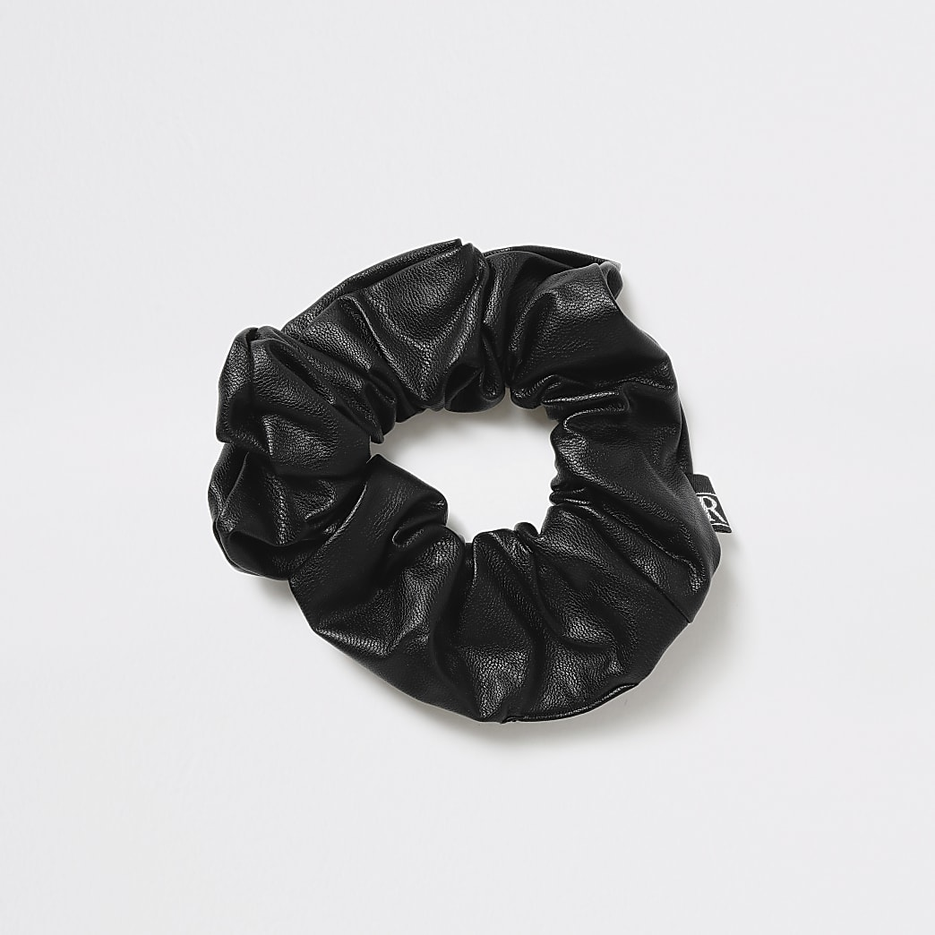 Faux leather black scrunchie