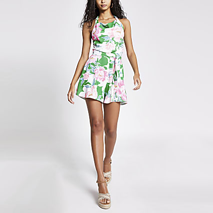 Floral cowl neck playsuit