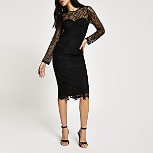 Forever Unique - Zwarte kanten bodyconmidi-jurk