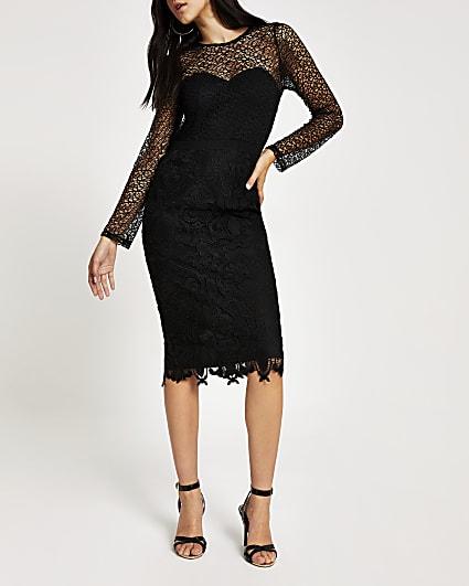 Forever Unique black lace midi dress
