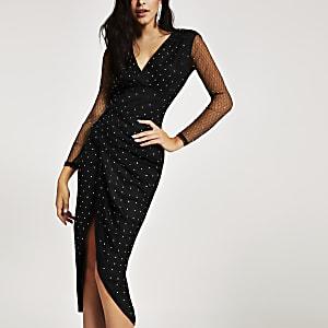 Forever Unique- Zwarte mesh overslag midi-jurk