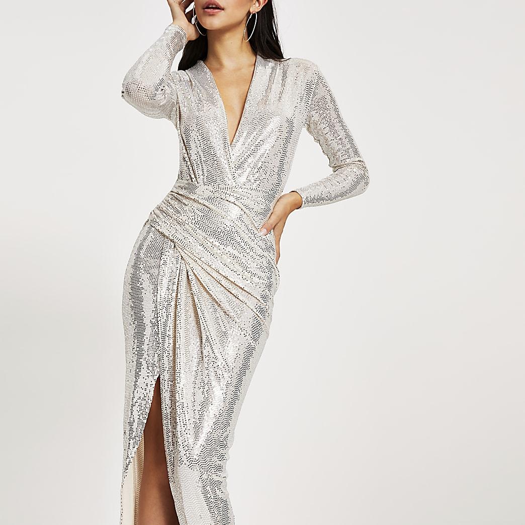 Forever Unique silver sequin wrap midi dress