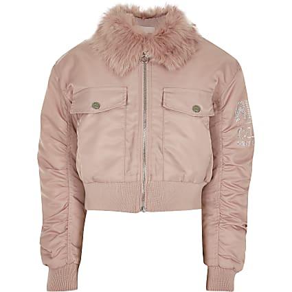 Gilrs pink padded bomber jacket