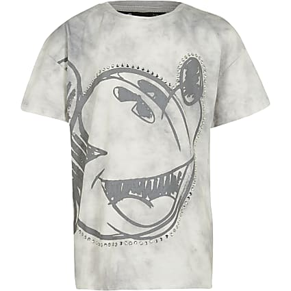 Girl grey  mickey moody tie dye t-shirt