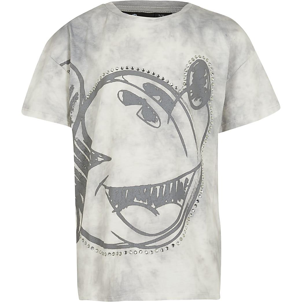 Girl grey  mickey moody tie dye t-shirt