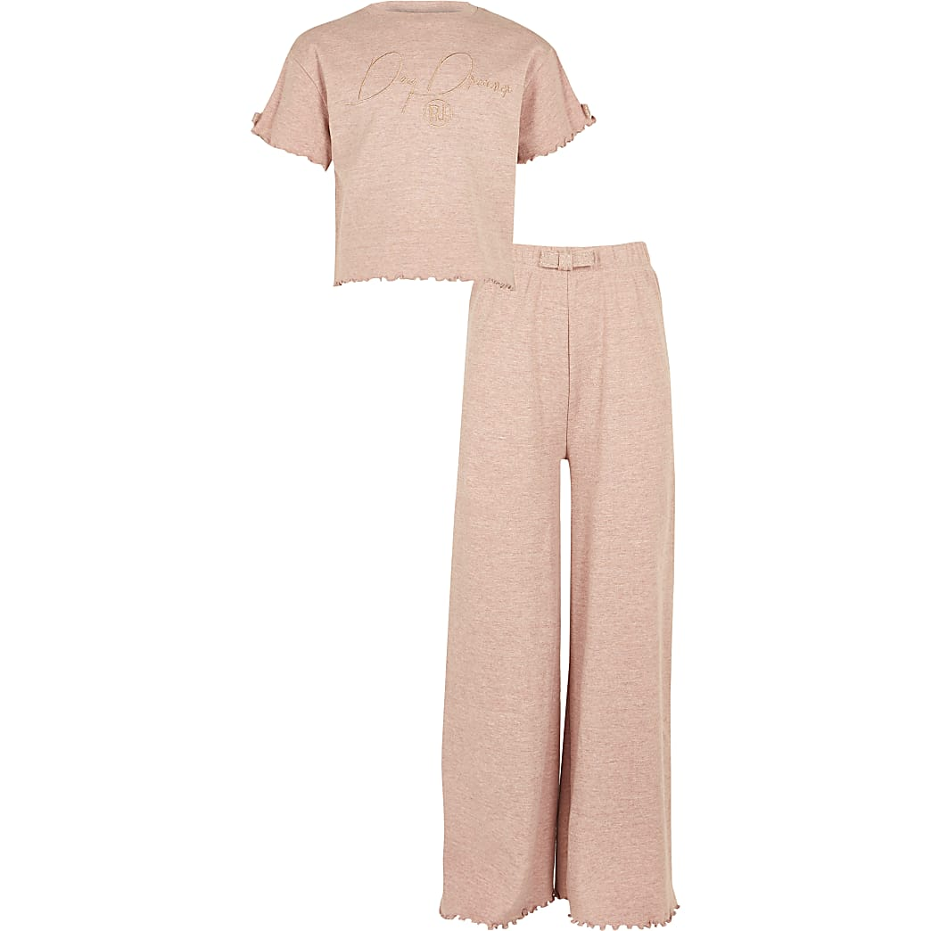 Girl pink daydream flared pyjamas