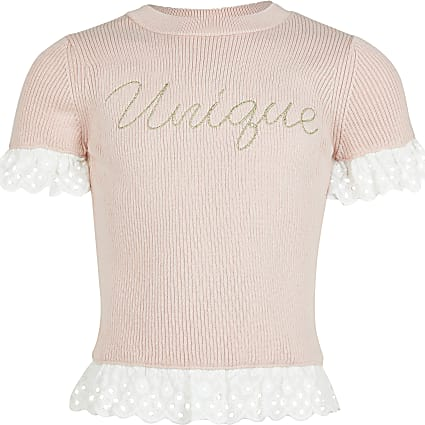 Girls  Pink 'Unique' broderie detail top
