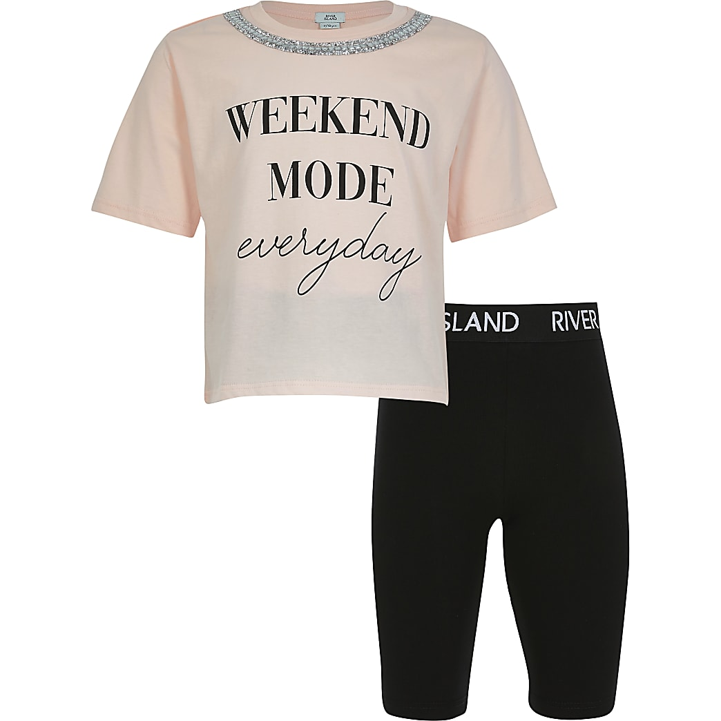 Girls  'Weekend Mode Everyday' short outfit