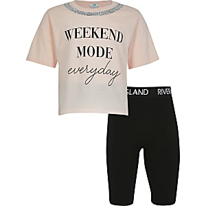 Girls  'Weekend Mode Everyday' short set