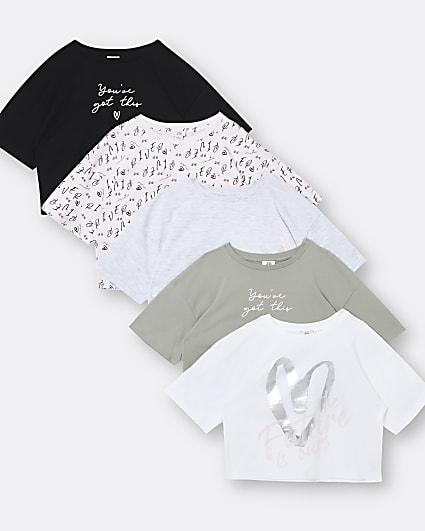Girls 5 pack love print t-shirts