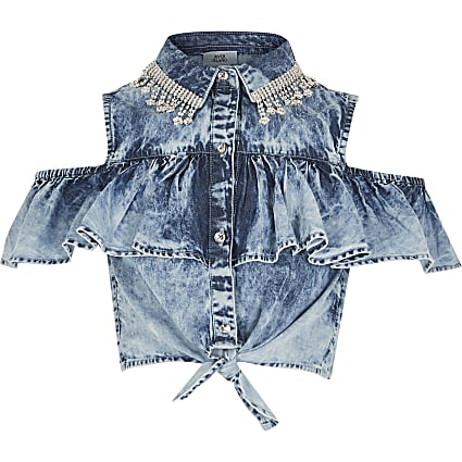 Girls acid wash denim embellished tie shirt