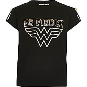 Wonder Woman T-shirt met 'be fierce'-print voor meisjes