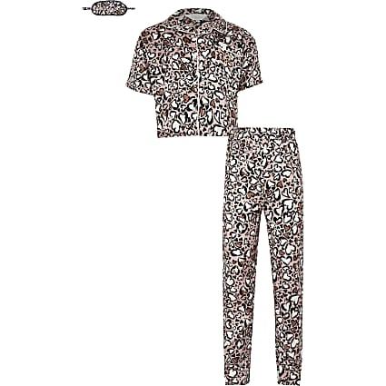 Girls beige animal print boxed satin pyjamas