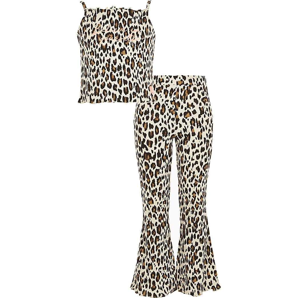 Girls beige animal print flare pyjamas