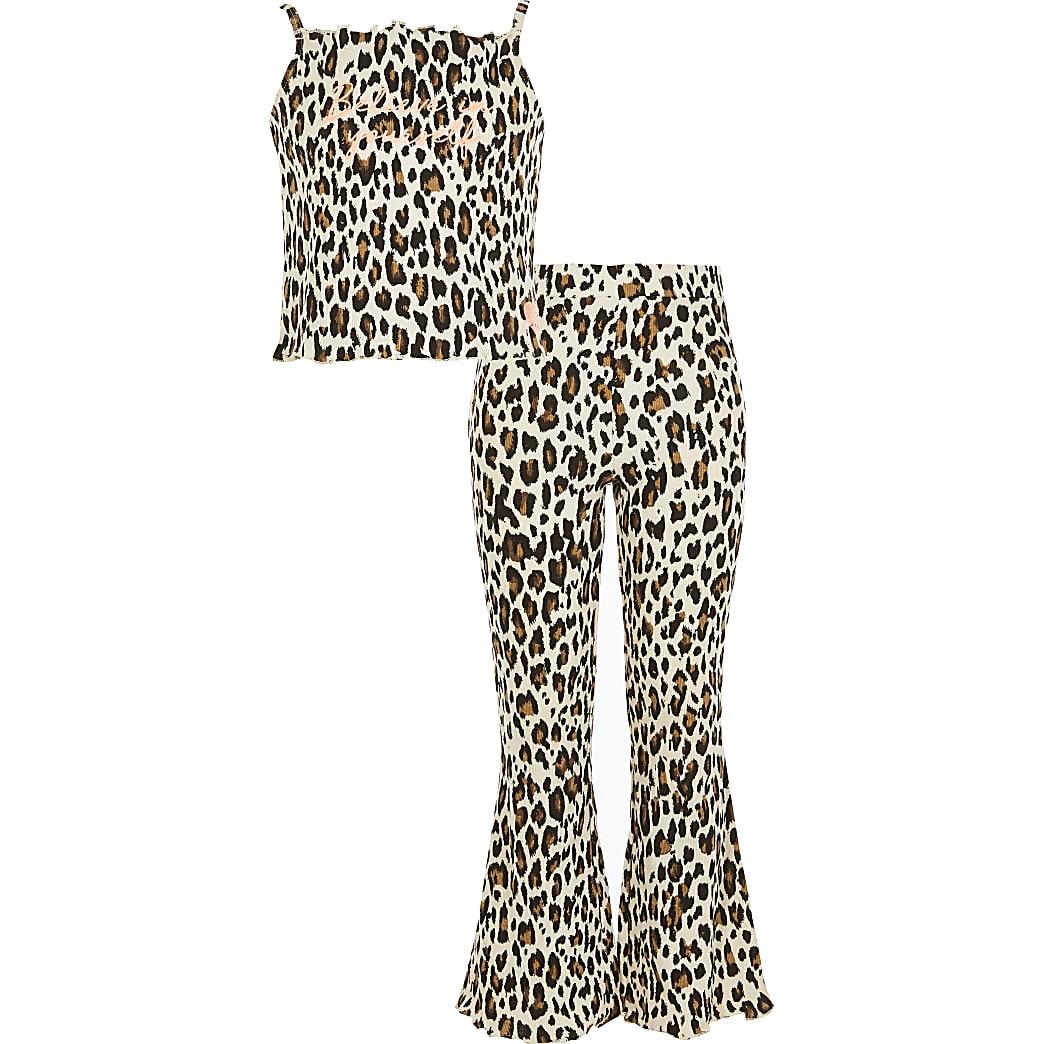 Beige uitlopende pyjama met dierenprint voor meisjes