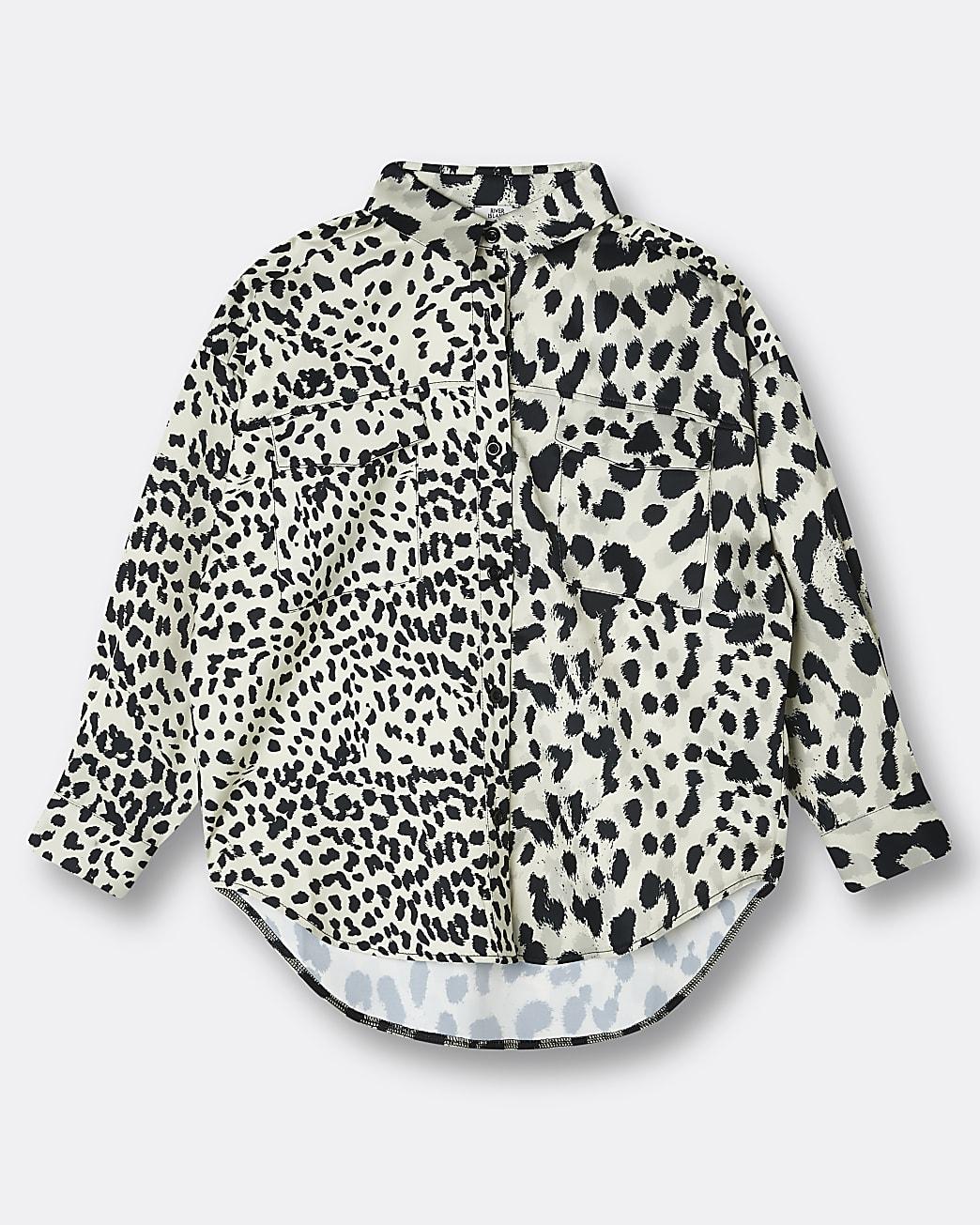 Girls beige animal print oversized shirt