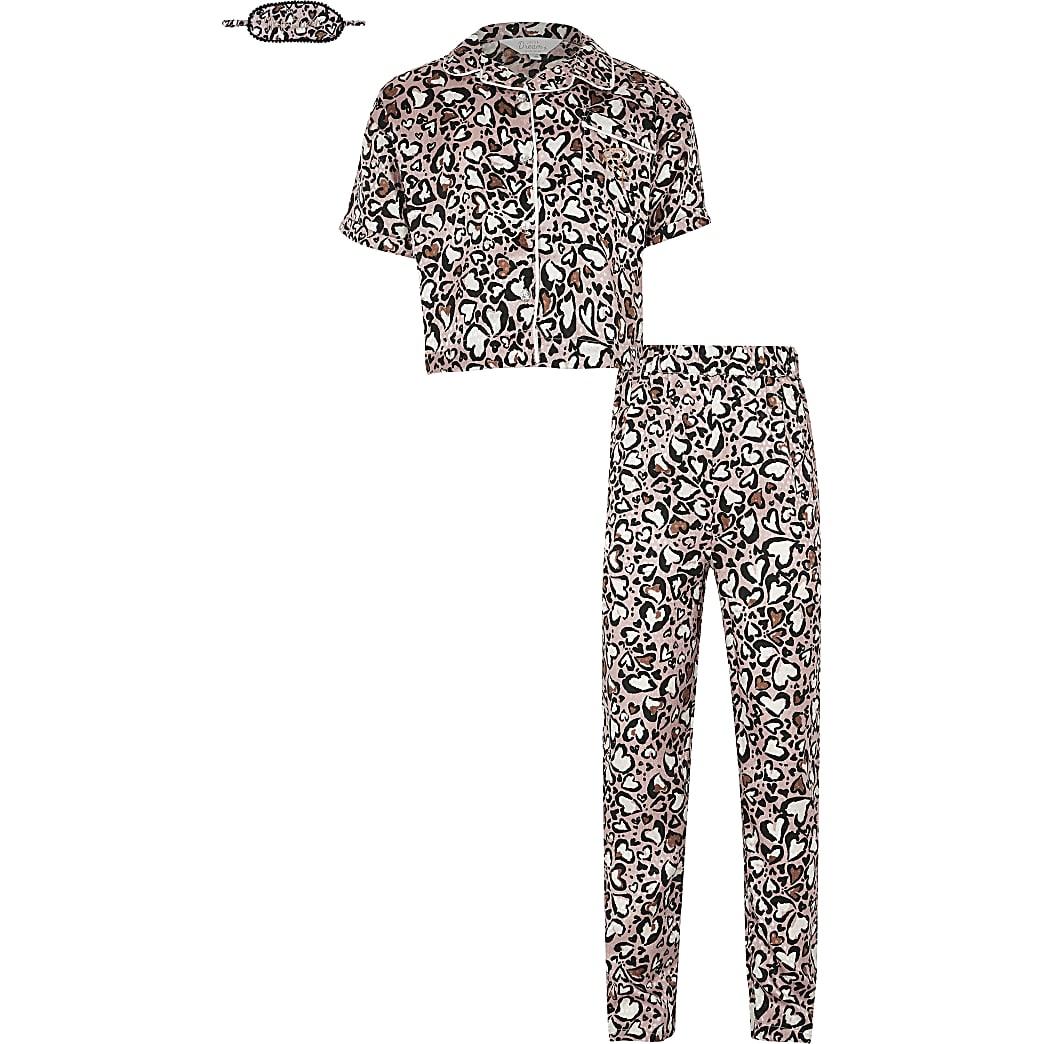 Girls beige animal print satin pyjamas