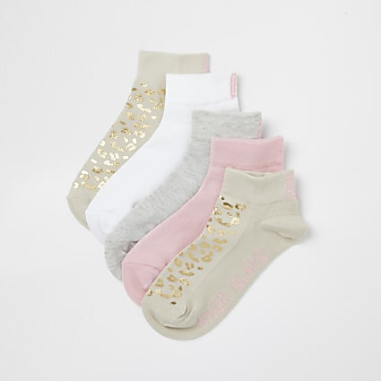 Girls beige animal print socks 5 pack