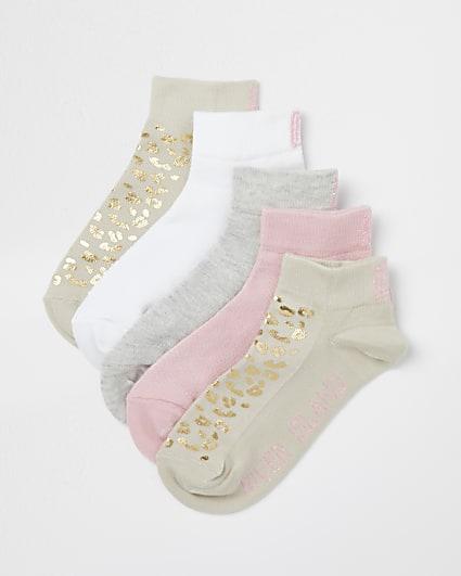 Girls beige animal print socks 5 pack