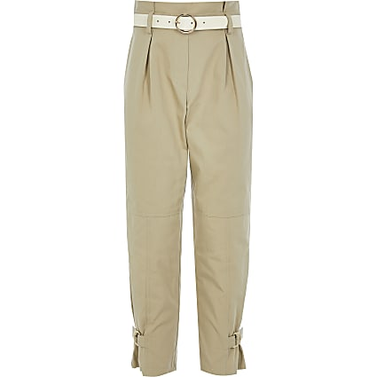 Girls beige belted paperbag trousers